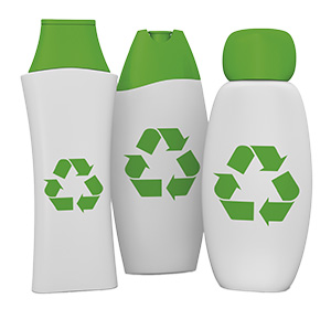 three plastic bottles with a green cap and the recycling symbol printed on front (3d render)