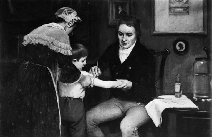 Dr. Edward Jenner (1749-1823), British physician performing his first vaccination on James Phipps, a boy of eight, on May 14, 1796. Painting by E. Board in the Welcome Museum, London. Undated painting. --- Image by © Bettmann/CORBIS