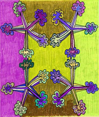 Pentacoordinados, técnica mixta, 30 x 45 cms, 2014