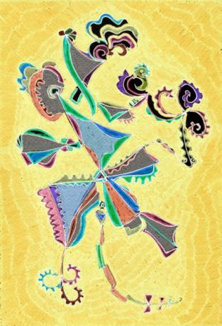 Papalote Totonaco, técnica mixta 33 x 55 cms, 2014  (Colección privada)