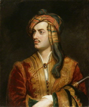 Fotografía 3.- Lord Byron con traje albanés (Thomas Phillips, c 1835). Óleo sobre lienzo depositado en la National Portrait Gallery. Fotógrafo: NPG. Fuente: Wikimedia Commons (https://commons.wikimedia.org/wiki/File:Lord_Byron_in_Albanian_dress.jpg?uselang=es).