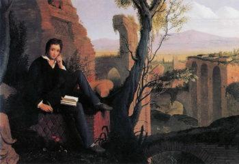 "Fotografía 5.- Retrato póstumo de Shelley escribiendo ""Prometeo liberado"" (Joseph Severn, 1845). Óleo sobre lienzo depositado en la Keats-Shelley Memorial House (Roma, Italia). Fuente: Wikimedia Commons (https://en.wikipedia.org/wiki/Percy_Bysshe_Shelley#/media/File:Joseph_Severn_-_Posthumous_Portrait_of_Shelley_Writing_Prometheus_Unbound_1845.jpg"