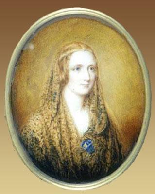 Foto 5.- Retrato en miniatura de Mary Shelley (Reginald Easton, 1857). Fuente: Wikimedia Commons (https://commons.wikimedia.org/wiki/File:MaryShelleyEaston3.jpg?uselang=es).