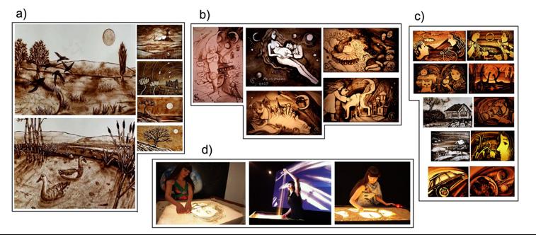 Figura 4. Dibujos en arena de D. Myriam (a), K. Simonova (b), A. Woinowa (c) y K. Simonova dibujando una obra artística.