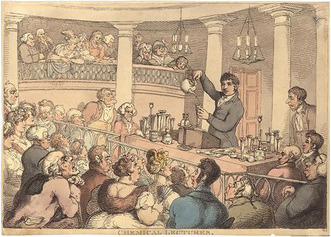 Figura 1. Thomas Rowlandson, conferencias química, siglo 19 [después de 1809] [3]