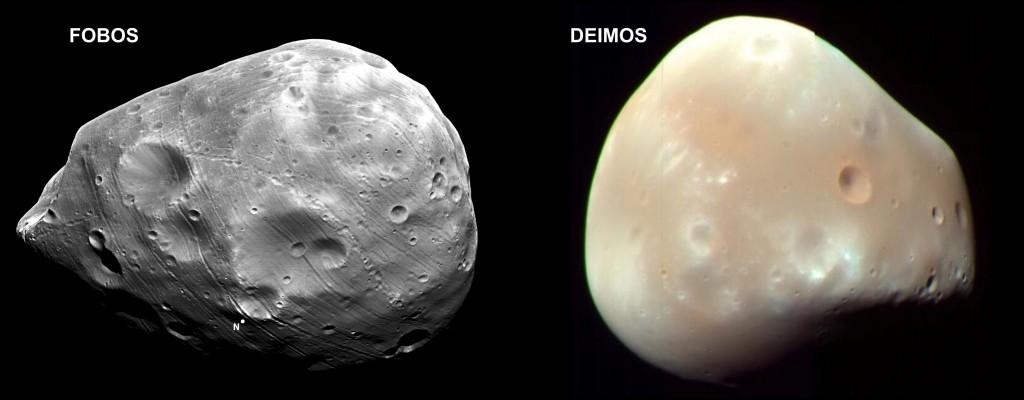 Figura 2: Fobos y Deimos (junto con la Luna son los únicos satélites de los planetas interiores: Mercurio, Venus, Tierra, Marte)