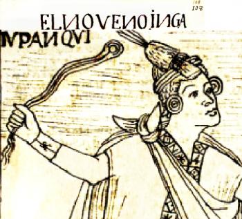Dibujo que representa una huaraca u honda (siglo XIV)