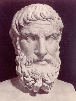 Epicuro, filósofo griego, fundador de la escuela que lleva su nombre (epicureísmo). Los aspectos más destacados de su doctrina son el hedonismo racional y el atomismo.