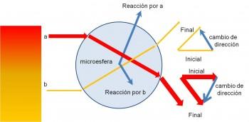 Figura 2. Microesfera atraída hacia la región donde la luz se enfoca (rojo)
