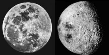 Las dos caras de la Luna (a la izquierda del lector, la cara visible)