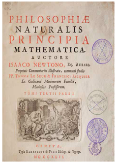 "Figura 1. a) ""Principia Matematica Philosphiae Naturalis"" de I. Newton"