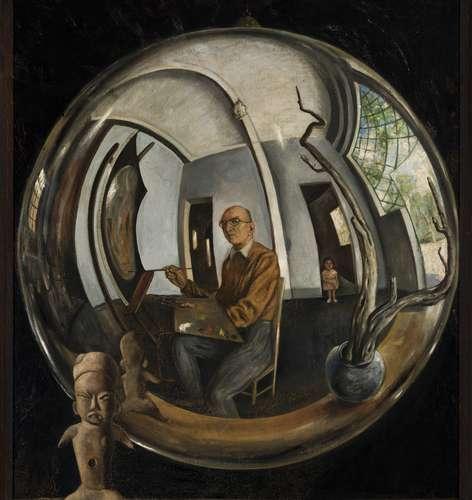 Roberto Montenegro. Autorretrato en bola de cristal, pieza de la exposición que estará hasta abril en Casa Luis BarragánFoto cotersía de la Colección Femsa