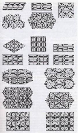 Figura 2. Simetrías posibles de un mosaico. En términos matemáticos, aquí se muestran los 17 grupos espaciales en dos dimensiones.