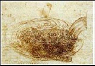 Figura 4. Dibujo de un flujo turbulento, por Leonardo da Vinci en el año 1500.
