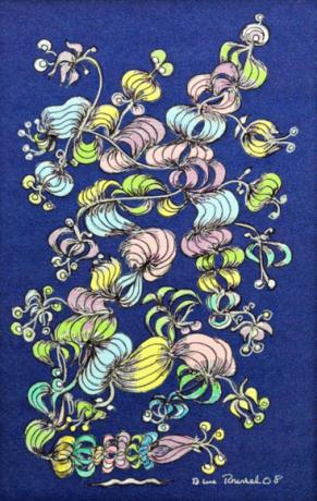 Enredadera en paisaje nocturno, técnica mixta, 33 x 50 cms. (2006)