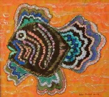 Pez en traje de luces, técnica mixta sobre papel albanene 31 x 30 cms, 2013 (Colección privada)