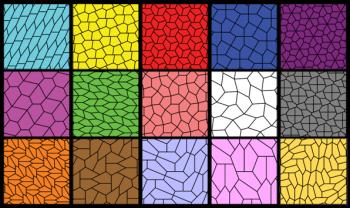 Figura 4. Hasta agosto de 2015 se conocían quince tipos de teselados formados con pentágonos irregulares. El último encontrado se muestra en el cuadro inferior derecho. Fuente: Wikimedia Commons.