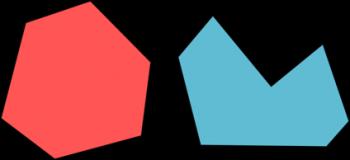Figura 5. Los polígonos convexos (izquierda) son aquellos cuyos ángulos sobresalen todos de la figura, mientras que los cóncavos (derecha) poseen cuando menos un ángulo que entra en ella.