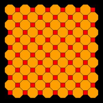 Figura 7. Teselado semirregular formado con octágonos regulares y cuadrados.