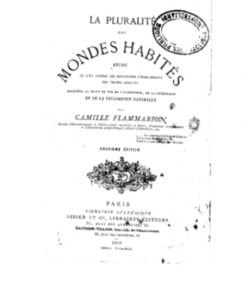 """Figura 3. Camille Flammarion. """"La pluralité des mondes habités"""""""