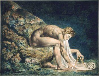 Figura 5. Isaac Newton (1643-1727) por William Blake (1795) se muestra desnudo, al estilo griego, ensimismado. Con un compás, quizá intentando describir la naturaleza a través de leyes matemáticas y las leyes de la física. Éste sería su mayor legado.