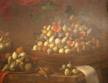Bartolomeo Bimbi, Fichi, 1696. Olio su tela. Villa medicea di Poggio a Caiano – MIBAC. Fonte Wikicommons