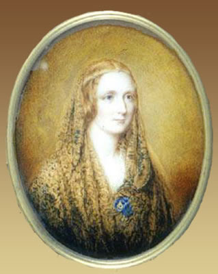 Foto 5.- Retrato en miniatura de Mary Shelley (Reginald Easton, 1857). Fuente: Wikimedia Commons (https://commons.wikimedia.org/wiki/File:MaryShelleyEaston3.jpg?uselang=es).