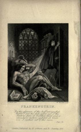 Fotografía 6.- Ilustración de la edición de 1831 de Frankenstein. Fuente: Wikimedia Commons (https://commons.wikimedia.org/wiki/File:Frankenstein.1831.inside-cover.jpg).