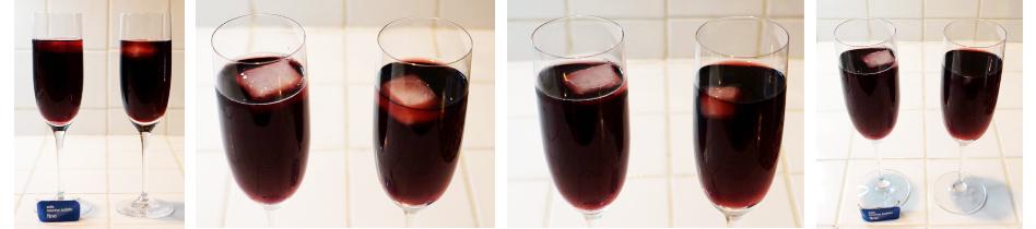 Figura 2. El hielo en el vino con sal se disuelve más lentamente
