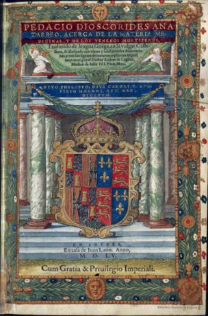 Fotografía 6.- Portada del Dioscórides de Laguna. Fuente: Biblioteca Digital Hispanica (http://bdh-rd.bne.es/viewer.vm?id=0000037225).