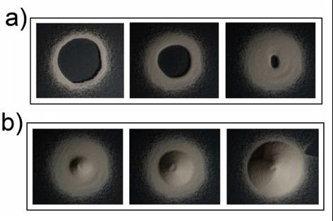 Figura 5. (a) Primera y (b) segunda etapa de formación de una pila de arena.