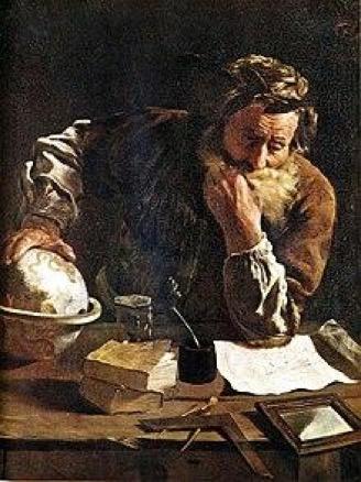 Figura 1. Arquímedes pensativo. Óleo sobre tela del pintor Domenico Fetti (1620).