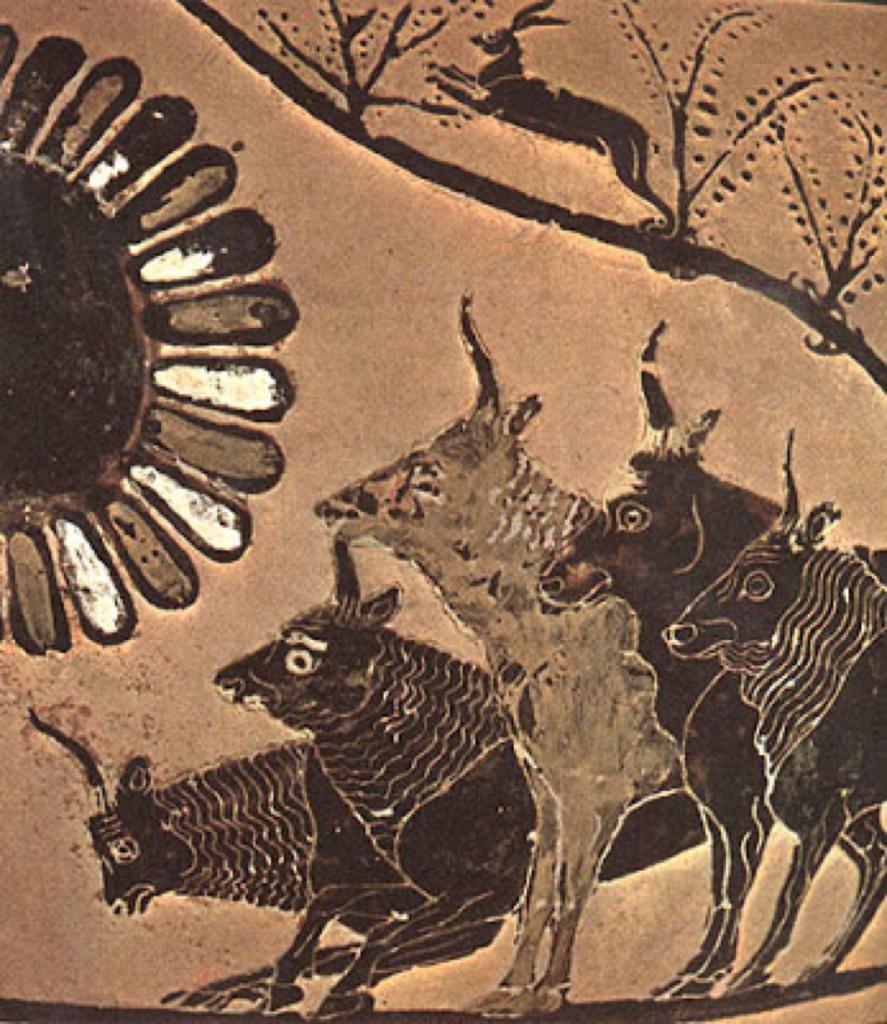 """Figura 5. Las vacas de Helios, Homero, Odisea, libro X. Ulises, tras la profecía de Tiresias, había dicho a sus compañeros: """"os lo ruego: respetas el ganado que hay en la isla. No lo toquéis bajo ningún concepto. No olvidéis nunca que su dueño es el Sol, el ojo y el oído del universo. El que todo lo ve y todo lo oye""""."""
