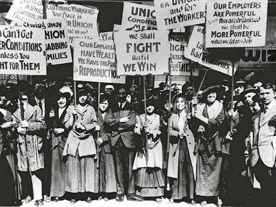 Trabajadoras de la empresa Cotton en la huelga de 1908.